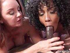 Interracial porn of her fucking black cock