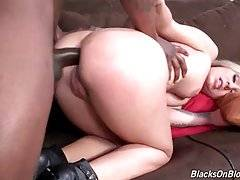Lovely white slut is fond of getting her butt hole attacked.