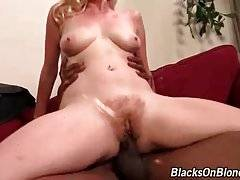 Tough black dude works his boner inside white babe`s hole.